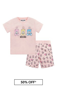 Moschino Kids Baby Girls Pink Cotton Outfit
