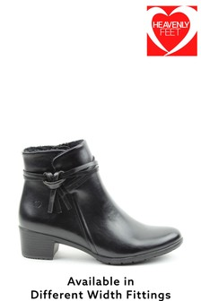Heavenly Feet Black Ladies Low Heeled Ankle Boots
