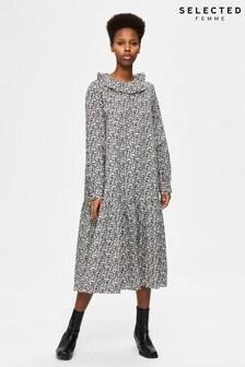 Selected Femme Organic Cotton Black Floral Midi Moana Dress
