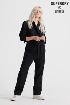 Superdry Black Military Jumpsuit