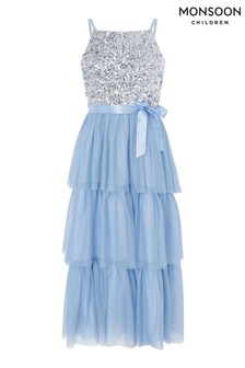 Monsoon Blue Truth Tiered Maxi Prom Dress