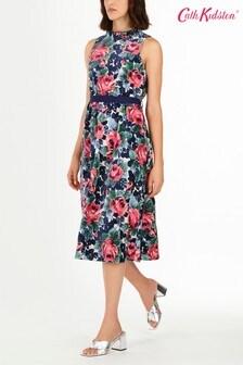 Cath Kidston® Cream Velvet Frill Boat Neck Dress