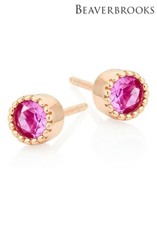 Beaverbrooks Rose Gold Plated Silver Pink Cubic Earrings