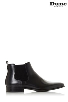 Dune London Morton Black Leather Ribbed Gusset Chelsea Boots