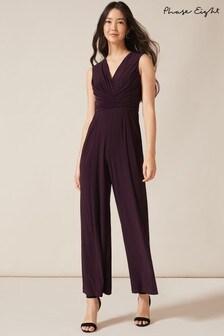 Phase Eight Purple Isabella Pleat Jumpsuit