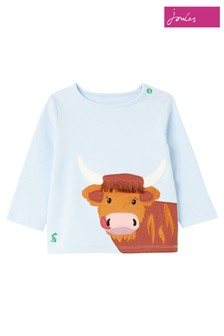 Joules Blue Angus Organically Grown Cotton Appliqué T-Shirt