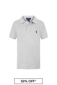 Boys Grey Custom Fit Polo Top