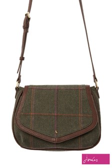 Joules Green Avebury Tweed Saddle Cross Body Bag