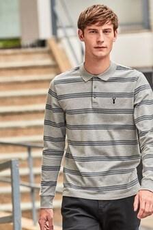 Long Sleeve Regular Fit Stripe Polo