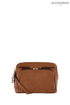 Accessorize Tan Taylor Double Zip Cross Body Bag