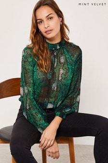 Mint Velvet Animal Petra Snake High Neck T-Shirt