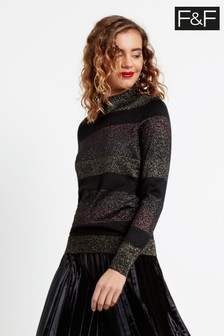F&F Multi Stripe Metallic Turtle Jumper