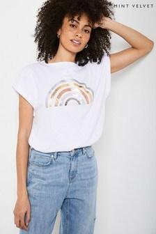 Mint Velvet White Rainbow Print T-Shirt