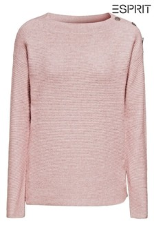 Esprit Pink Button Shoulder Ribbed Sweater