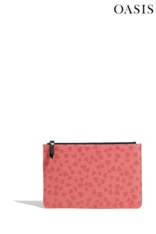 Oasis Red Heart Print Pouch