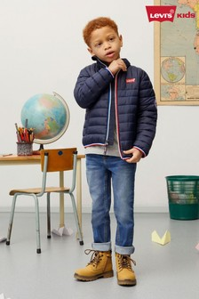 Levi's® Kids Navy Batwing Logo Soft Shell Puffer Jacket