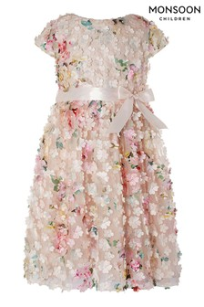 Monsoon Pink Florence Print 3D Flower Dress