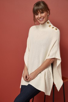 Knitted Button Cape