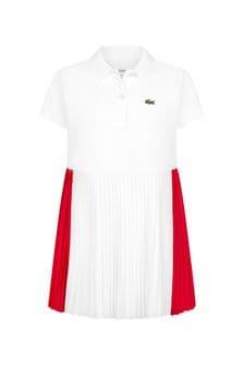 Lacoste Kids Girls White Cotton Dress