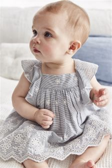 Ticking Stripe Embellished Dress (0mths-2yrs)