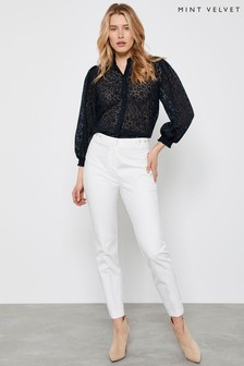 Mint Velvet Off White Eyelet Detail Capri Trousers