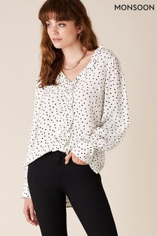 Monsoon Cream Spot Print Ruffle Detail Blouse