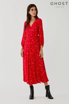 Ghost Aueline Ditsy Print Crepe Wrap Dress