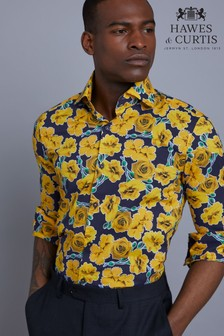 Hawes & Curtis Blue Roses Print Slim Fit Shirt
