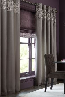 Geo Embellished Sequin Eyelet Curtains