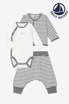 Petit Bateau 3-teiliges, gestreiftes Outfit-Set