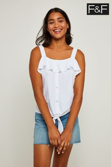 F&F White Ruffle Front Tie Detail Top
