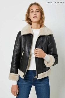Mint Velvet Black Zip Aviator Jacket
