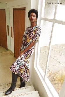 Warehouse Multi Cutabout Daisy Print Dress