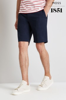 Moss 1851 Blue Tailored Fit Navy Stretch Chino Shorts