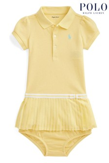 Ralph Lauren Yellow Logo Pleated Polo Dress