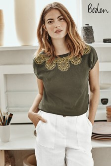Boden Green Elgin Embroidered Cotton T-Shirt