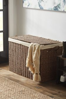 Plastic Wicker Fabric Lined Storage Ottoman
