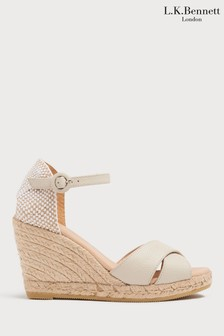 L.K.Bennett White Angele Leather Espadrille Sandal
