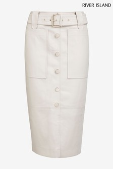 River Island Bone PU Belted Midi Skirt