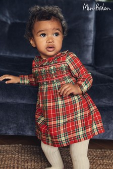 Boden Red Woven Check Smocked Dress