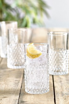 Set of 4 Embossed High Ball Glasses