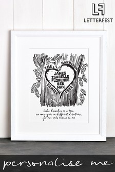 Personalised Family Tree Framed Print by Letterfest
