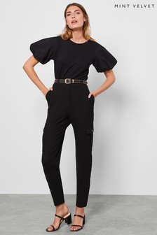 Mint Velvet Black Textured Utility Trousers