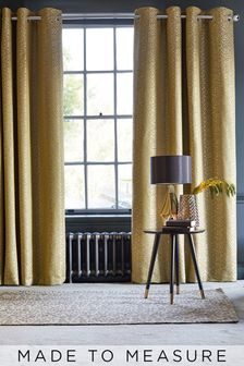 Ochre Gold Geo Texture Made To Measure Curtains