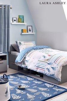 Blue/White Ahoy Nautical Boats Duvet Cover and Pillowcase Set