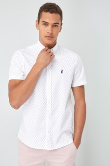 Short Sleeve Printed Stretch Oxford Shirt