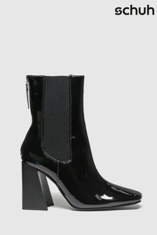 Schuh Black Bianca Patent Chelsea Boots