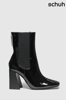 Schuh Black Bianca Patent Chelsea Boots