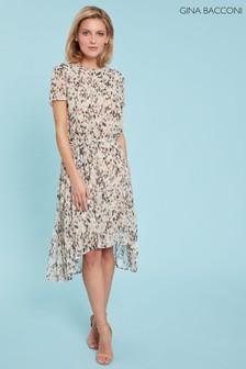 Gina Bacconi Cream Lanaya Chiffon Dress