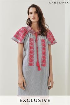 Mix/Rose and Rose Embroidered Smocked Dress